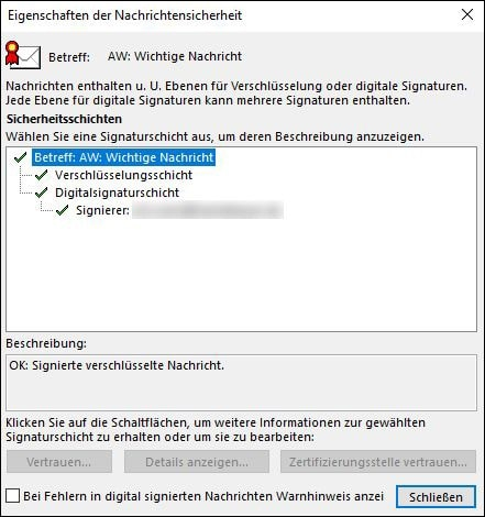 Microsoft Outlook Verschluesselung Klick auf Schloss