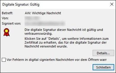 Microsoft Outlook Verschluesselung Klick auf Signatur Symbol