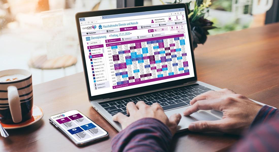 Verwaltung von Klientendaten und Mitarbeitern über curaCAT Dashboard