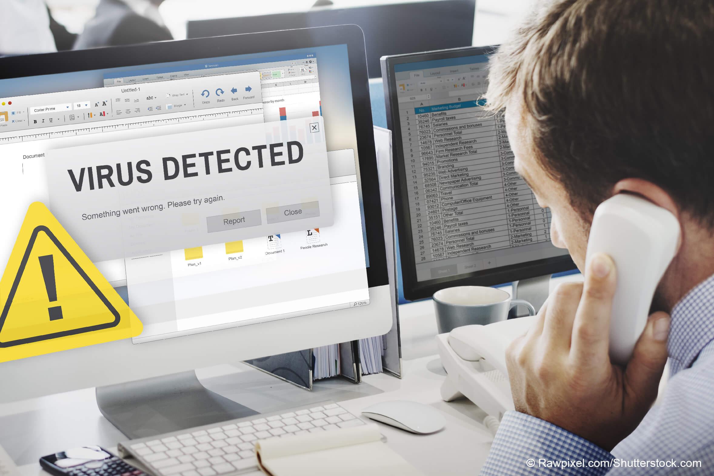 Verhaltensregeln beim Auftreten von Schadsoftware